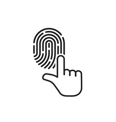 Black thin line hand with finger print vector
