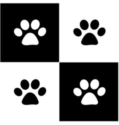 Black white paw prints card vector