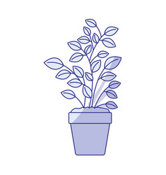 Blue shading silhouette of plant pot vector