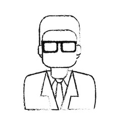 Blurred silhouette half body executive man with vector
