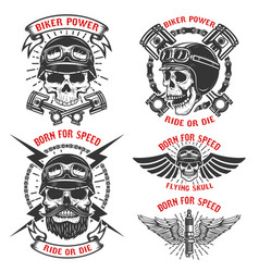 Born for speed set emblems with racer vector