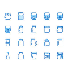 Bottle of jam flat line icons glass packaging for vector