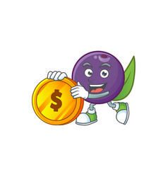 Bring coin acai berries character for fresh fruit vector