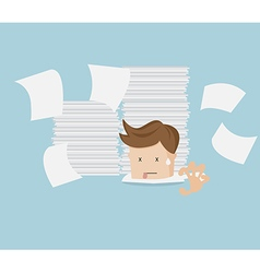 Businessman under stack of document cartoon vector