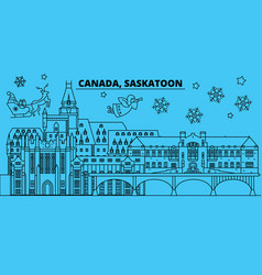 canada saskatoon winter holidays skyline merry vector image