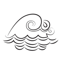 cartoon image of wave icon water wave symbol vector image
