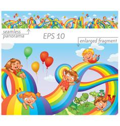 children slide down on a rainbow vector image
