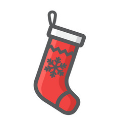 christmas stocking filled outline icon new year vector image