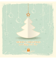 Christmas tree with hanging ornaments vector image