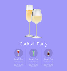 cocktail party menu advertisement poster champagne vector image