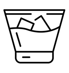 Cold whiskey glass icon outline style vector