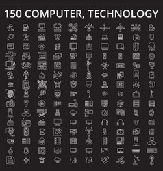 computer technology editable line icons vector image