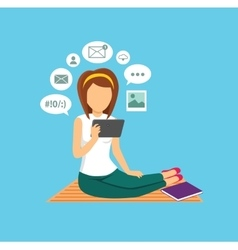 Computer user woman isolated icon vector