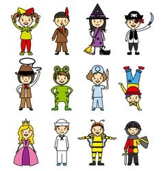 Costumed children set vector