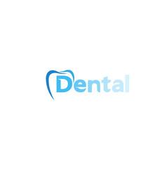 creative dental care clean blue teeth logo design vector image