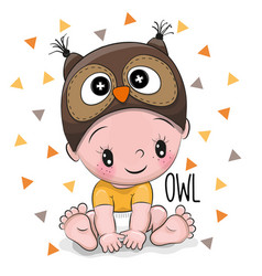 cute cartoon baby boy in a owl hat vector image
