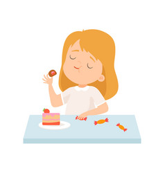 Cute little girl eating cake and sweets vector