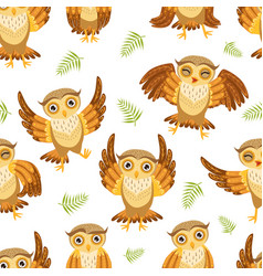 cute owlets seamless pattern adorable owl birds vector image