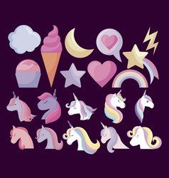 cute unicorns with set icons vector image
