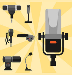 different microphones types icons journalist vector image vector image