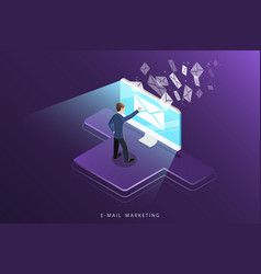 E-mail marketing isometric concept vector