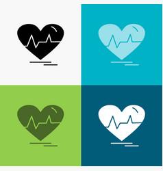 Ecg heart heartbeat pulse beat icon over various vector