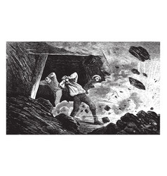 Explosion in a coal mine vintage vector