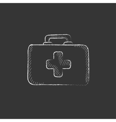 First aid kit Drawn in chalk icon vector
