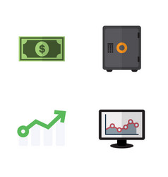 Flat icon finance set of growth greenback vector