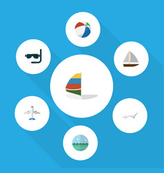 Flat icon season set of aircraft deck chair vector