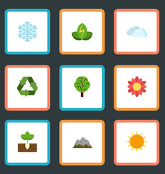 flat icons blossom winter snow landscape vector image