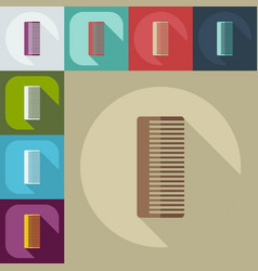 Flat modern design with shadow icons comb vector