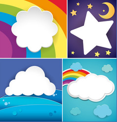 four banner designs with clouds and rainbow vector image