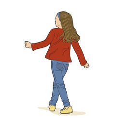 girl in red sweater vector image