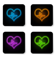 glowing neon heart rate icon isolated on white vector image