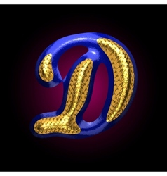 golden and blue letter d vector image