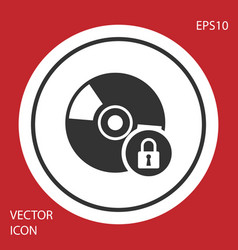 Grey cd or dvd disk with closed padlock icon vector