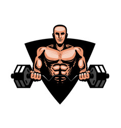 Gym bodybuilding fitness logo or label muscular vector