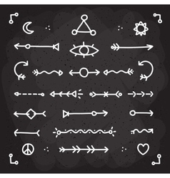 Hand drawn chalk arrows set vector image