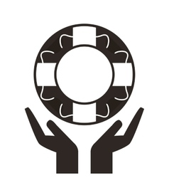 Hands and life preserver icon vector