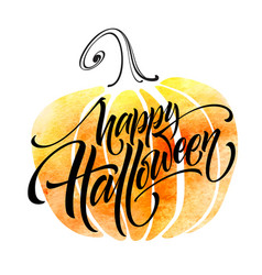 Happy halloween lettering on watercolor background vector