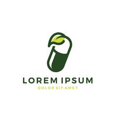 Herbal capsule pill leaf medicine drug logo vector