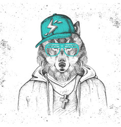 Hipster animal wolf dressed in cap like rapper vector