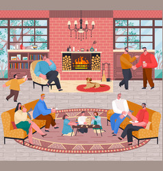 Home reception big company on weekends vector