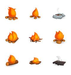 hot campfire icon set cartoon style vector image