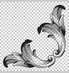 Isolate corner ornament in baroque style vector