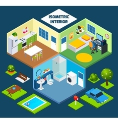 Isometric interior concept vector image