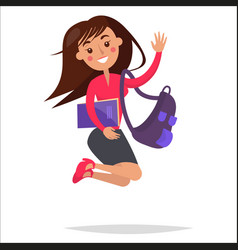 Jumping girl student with backpack and notebook vector
