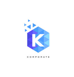 k blue hexagonal letter logo design with mosaic vector image