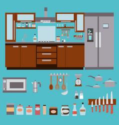 Kitchen furniture and kitchen utensils vector